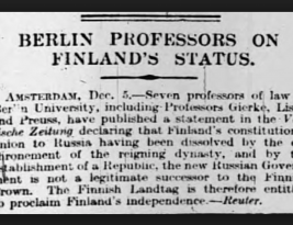 Finland Independence was successfully declared on December 6th, 1917, with a process that was as complex as Brexit!